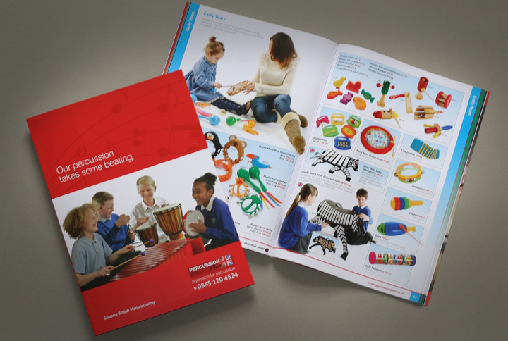 music catalogue design, catalogue designers leicester, catalogue for Percussion Plus, leicester catalogue design company