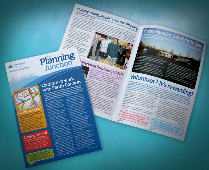 A4 newsletter design and print for Planning Aid, charity newsletter design, newletter design company