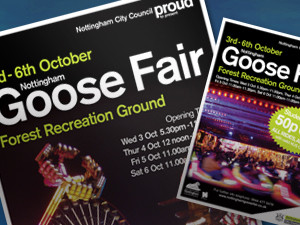 leaflet design nottingham, goose fair nottingham poster design company
