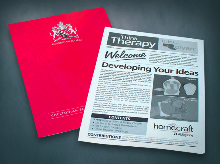 Newsletters we designed and produced for Cheltenham College public school and Homecraft Rolyan, a healthcare supplier.