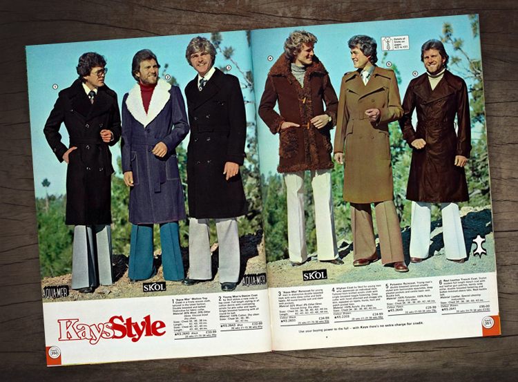Catalogue Man, 1977 Kays catalogue double page spread design