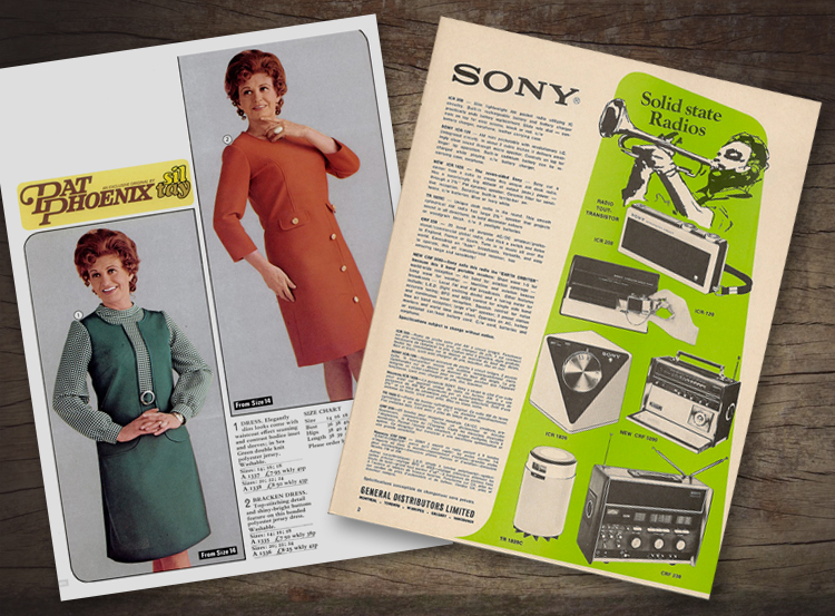 A page from the 1972 Kays catalogue featuring Coronation Streets Pat Phoenix (looking thoughtful). Also an early 70s Sony catalogue with 2 colour, with single black and white imagery.