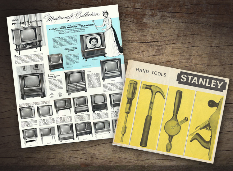 vintage catalogue design, catalogue designers, old catalogue page designs