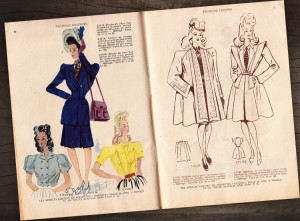 1946 french clothes catalogue design, clothing catalogue design, retro catalogue pages