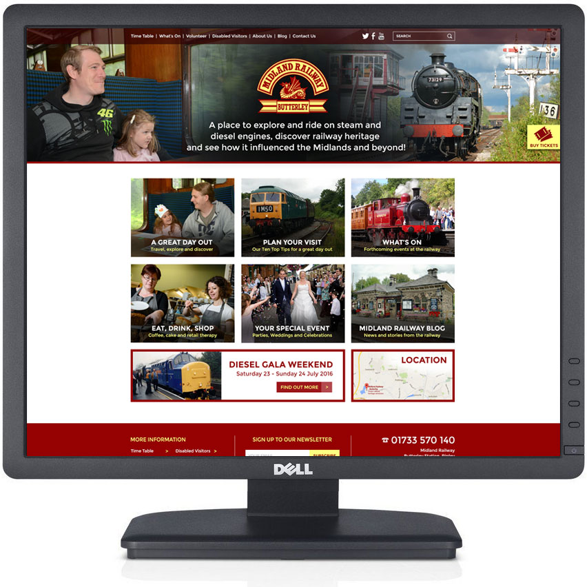 steam railway website designer, design of steam railway website, responsive railway web design, butterley steam railway website designers