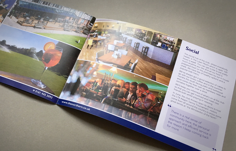 Tennis club brochure designers, brochure design peak district, brochure design didsbury, sports club web designers