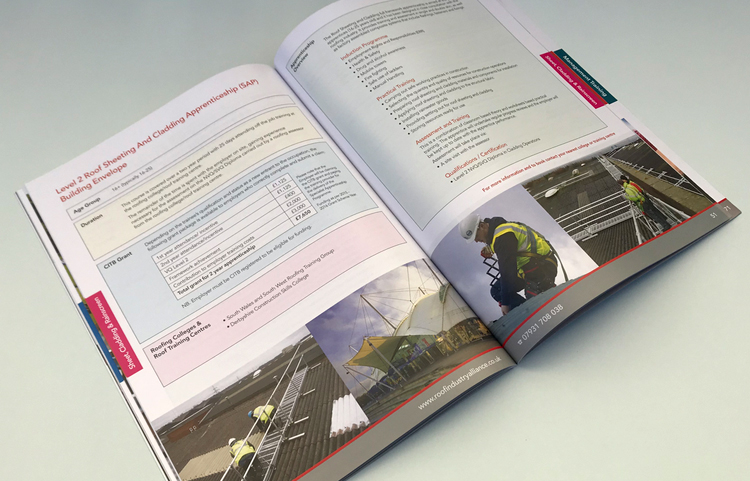 Roof Industry alliance prospectus design and print, prospectus print, full colour brochure design