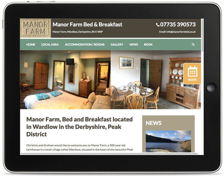 holiday cottage website design, website design peak district, bed and breakfast, wardlow website design, website designers