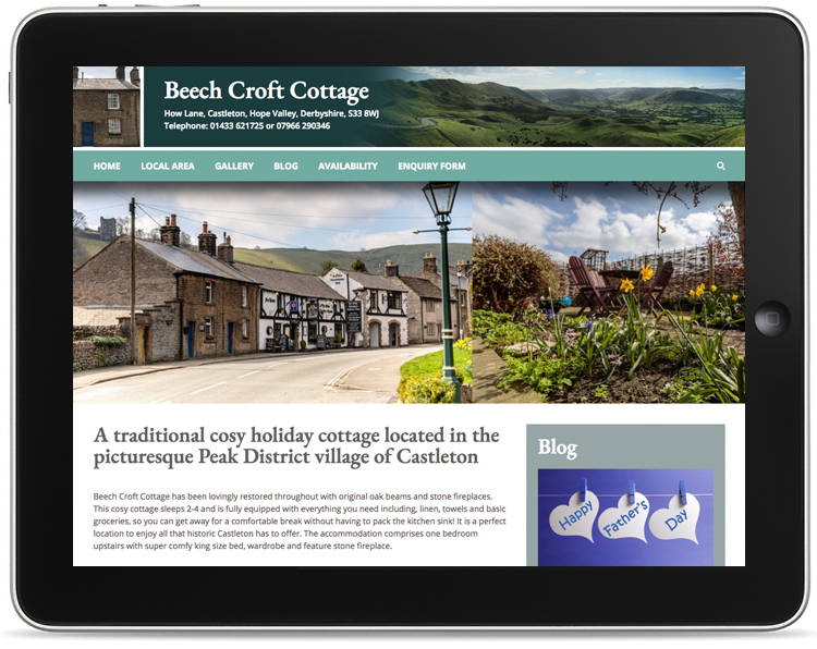 peak district holiday cottage website design, web designers castleton, castleton web design, web design company hope valley