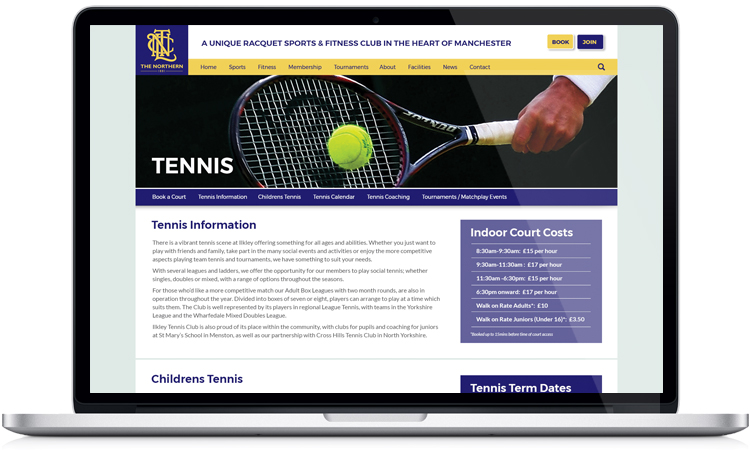 tennis club website designers